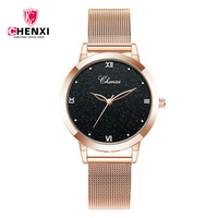 2018 CHENXI Luxury Women Quartz Watches Fashion Creative Romantic Starry Sky Black Dial Rose Gold Mesh