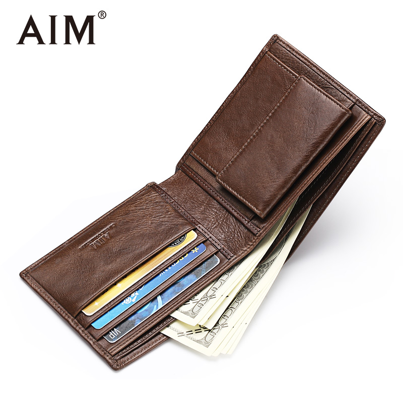 AIM Genuine Leather Men Wallet New Male Short Purse Brand Bifold Design Small Wallets With Card Holder And Coin Pocket SMT003KQS oufankadi genuine leather wallet fashion short bifold men wallet casual soild men wallets with pocket purse male wallets