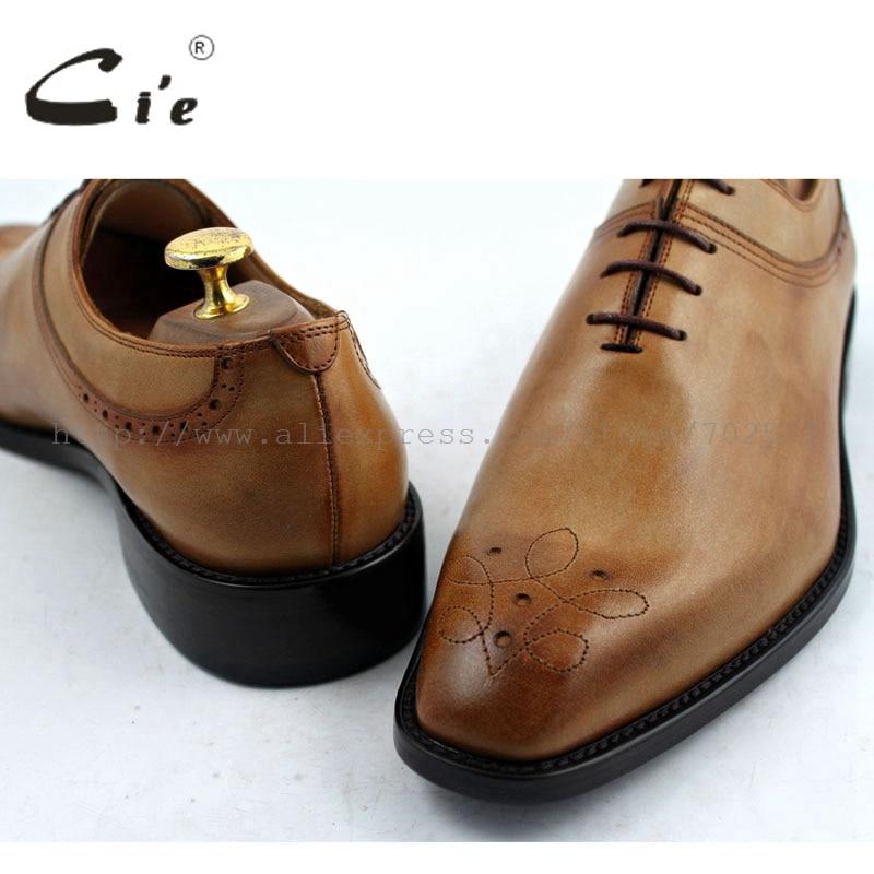CIE с квадратным носком резные ручной работы из натуральной телячьей кожи мужская Оксфорд шнуровка обуви цвет коричневый No. OX194 клей Craft