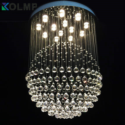 luxury crystal ball chandelier hotel/bedroom/stair drop light lustres de cristais quality K9 crystal+stainless steel stair light