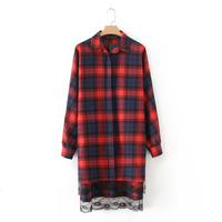 European Style Women Plaid Shirt Dresses Hem Spliced Lace Long Sleeve Turn Down Collar Autumn Casual