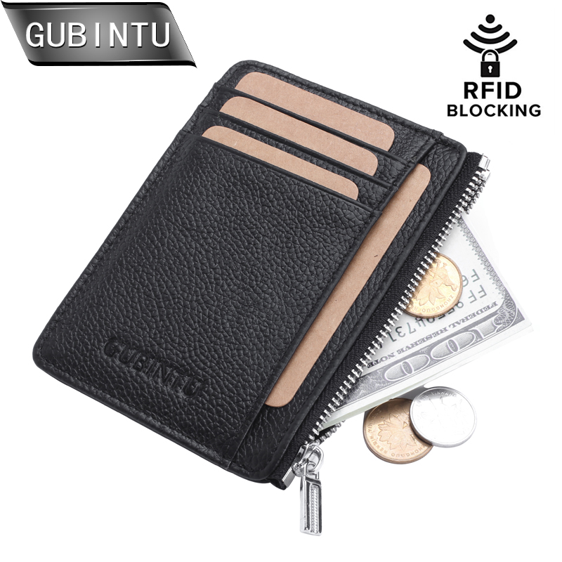 GUBINTU Genuine Leather Thin Card Case Men Card Holder Purse Slim Front Pocket trave wallet Mini Coin Pocket tarjetero hombre
