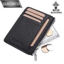 GUBINTU Genuine Leather Thin Card Case Men Holder Purse Slim Front Pocket trave wallet Mini Coin tarjetero hombre