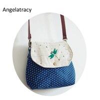 Angelatracy Zakka Dragonfly Embroidery Women Bags Blue Dots Insects Women Crossbody Bag Women Students Saddle Cotton Handbags