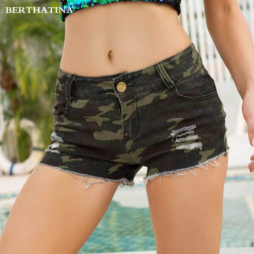 Denim Shorts High Waist Camouflage Women Pockets Zipper Trendy Chic Fit Womens Summer Casual Student Daily Fashion Ripped Jeans