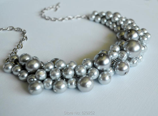 Gray Chunky Pearl Jewelry Necklace Bridesmaid Bauble
