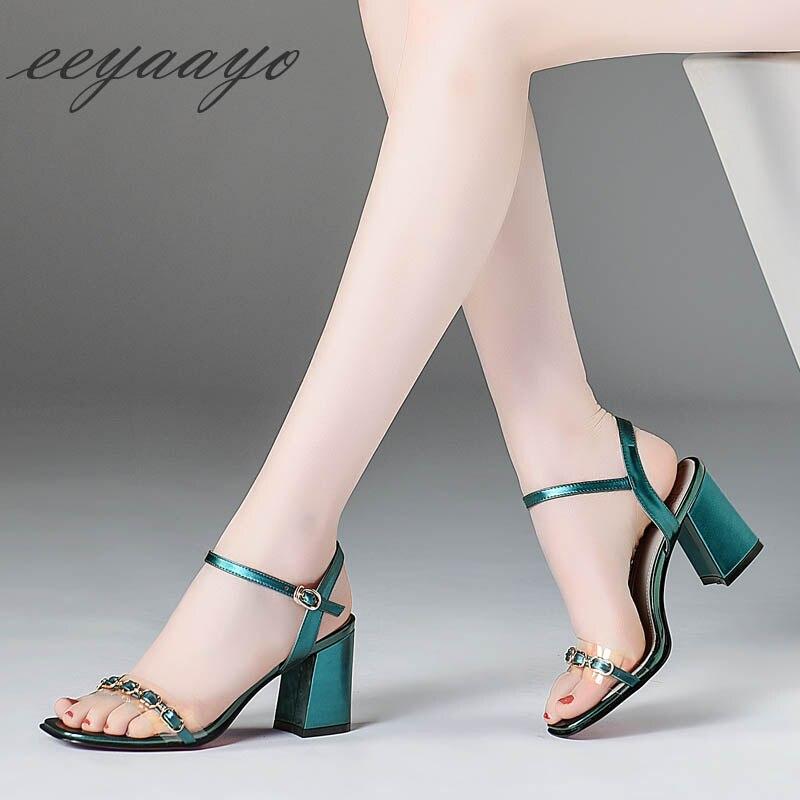 Mujer Metal Sandalias Cadena Mujeres Sexy Zapatos Alto Genuino Tacón Cyan Cian Color Señoras Vaca Toe gun Peep Nuevo Las De Verano Cuero 2019 q4IEPwa