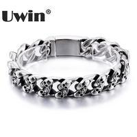 Uwin New Arrival Bracelet Men Stainless Steel Charm Skull Miami Cuban Link Bracelet Hiphop Jewelry Wholesale Mens Bracelets 2017