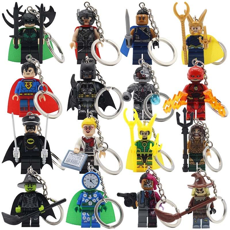 POGO Super Heroes Keychain Building Block Batman Key Chain Bricks Toys Sets Models Gifts Superman Avengers