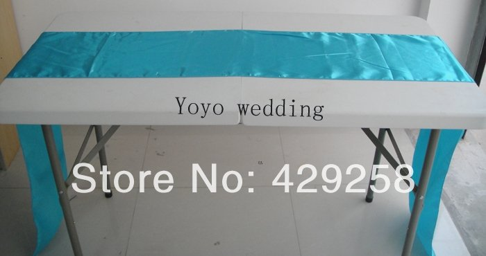 Great Wholesale 50pcs Turquoise Blue Aqua Satin Table Runner 28cmX250cm  Wedding/HOT/Free Shipping