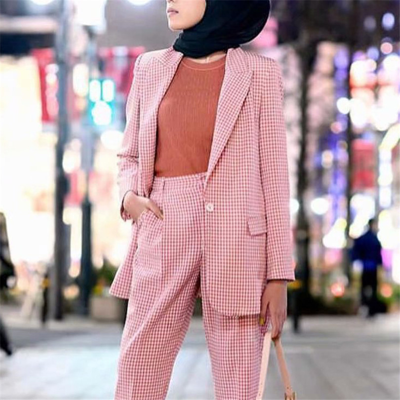 BLSQR Women Elegant Loose Pink Plaid Blazer Jacket Long Sleeve Pocket Decoration Office Wear Coat Female Outerwear Chic Tops