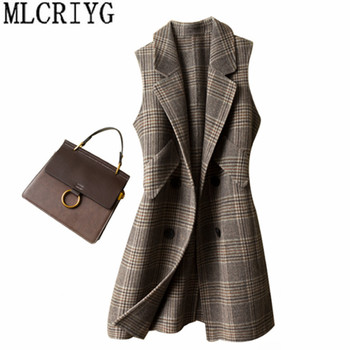 MLCRIYG 2019 Autumn Winter Women's Vest Wool Coat Female Long Vests Plaid Waistcoat for Women Woolen Coats jaqueta feminina Q283