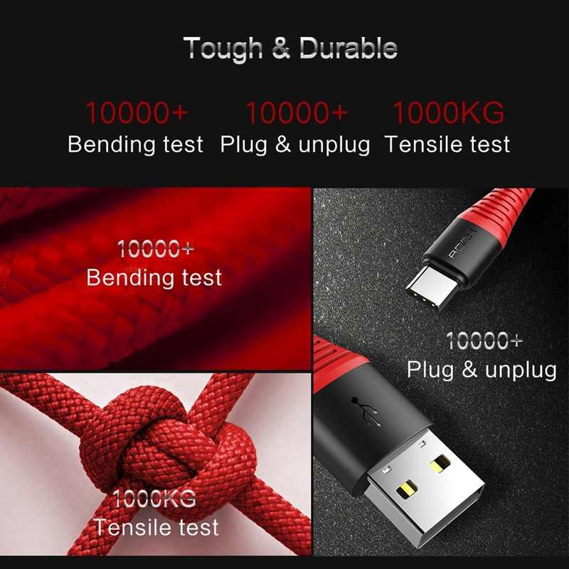 ROCK o wysokiej wytrzymałości kabel USB typu C 3A kabel USB typu c szybki kabel do ładowania do synchronizacji danych dla Galaxy S8 plus uwaga 8 Oneplus 2 Xiaomi