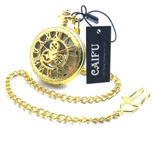CAIFU Brand Skeleton Steampunk Golden Case Arabic Number Dial Mechanical Hand Wind Mens Pocket Watch w/Chain Half Hunter Watch
