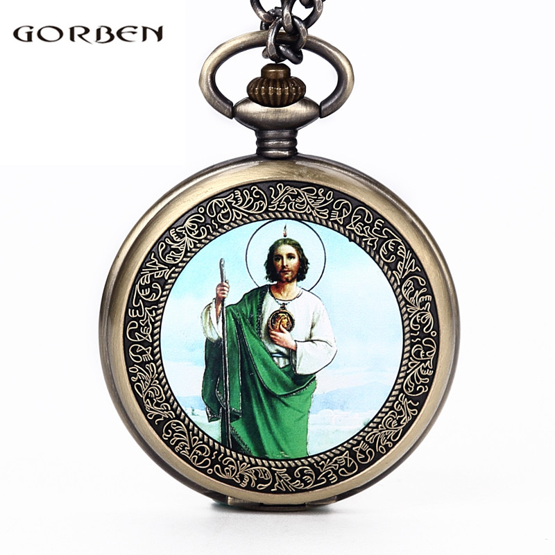 Retro God's Son Jesus Portrait Pocket Watch Mens Holding A Scepter Aura Classic Religious Christian Catholicism Faith Watches