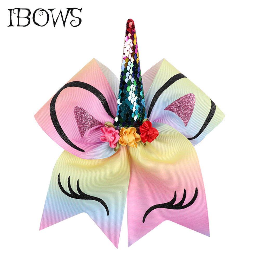 7'' Large Sequin Unicorn Horn Cheer Bows Glitter Printed Floral Bow With Elastic Bands For Girls Boutique Hair Accessories