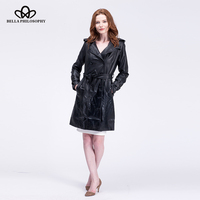2015 Winter New Double Breasted Long Coat Slim Pu Faux Leather Female Long Coat Jacket Belted