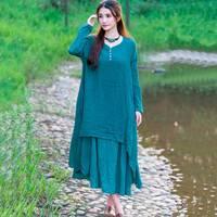 Autumn Full Dress Solid Color Plus Size Cotton Women Dress Linen O Neck Long Sleeve Winter