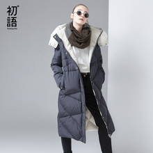 Toyouth Women Coat Winter Medium-Long Hoody Single-breasted Snap Button Thickening Long Jacket Coat High Quality