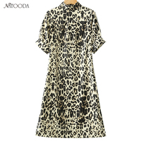 NATOODA 2018 Fashion Leopard Dress Women Casual Short Sleeve A Line Stand Collar Empire Side Split