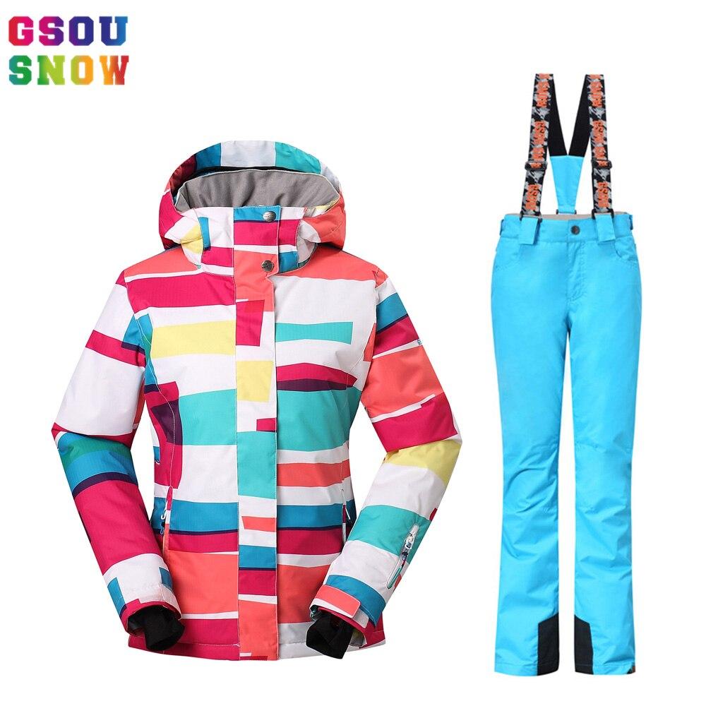 Prix pour -30 Degrés Gsou Snow Marque Ski Costumes Femmes Étanche 10000 Respirant 10000 Professionnel Femelle D'hiver Snowboard Vestes Pantalon