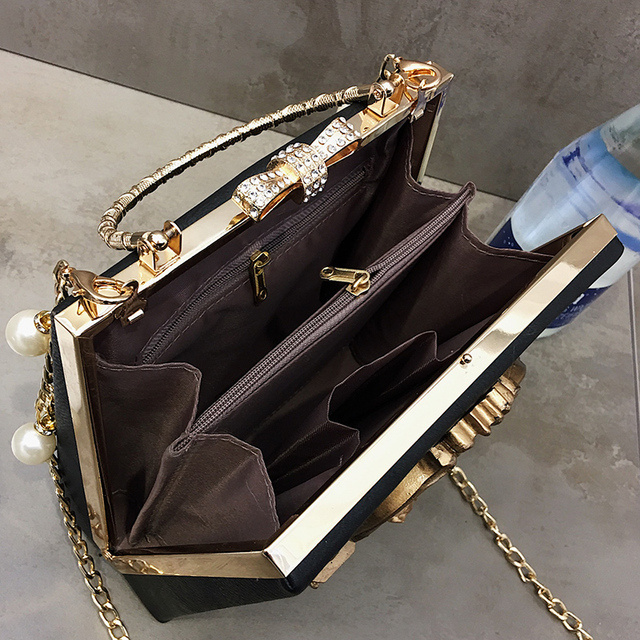 Luxury fashion Cupid decals box shape pu leather pearl chain shoulder bag handbag party purse women's crossbody messenger bag