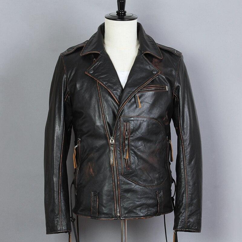 2019 Vintage Noir Hommes de Motard En Cuir Veste Diagonale Zipper Plus Taille XXXL Véritable peau de Vache Motocycliste Veste LIVRAISON GRATUITE