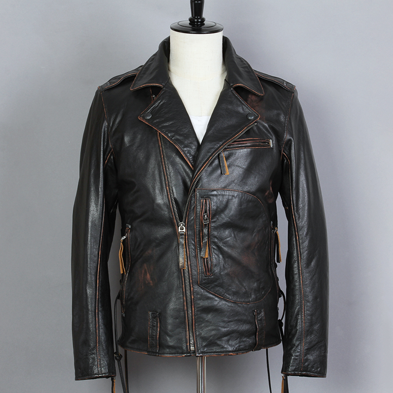 2019 Vintage noir hommes Biker veste en cuir fermeture à glissière diagonale grande taille XXXL véritable peau de vache motocycliste veste livraison gratuite