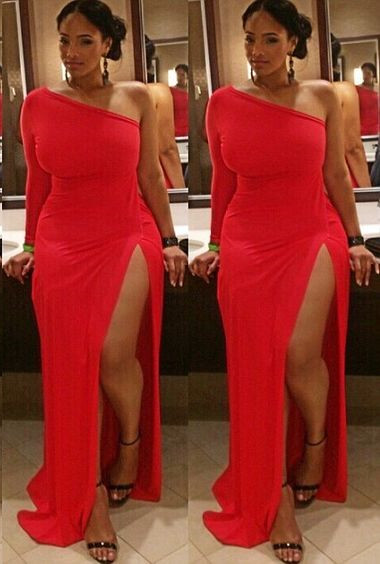 2017 Sexy Plus Size Black Girl Prom Dress Evening Dress Straight Red