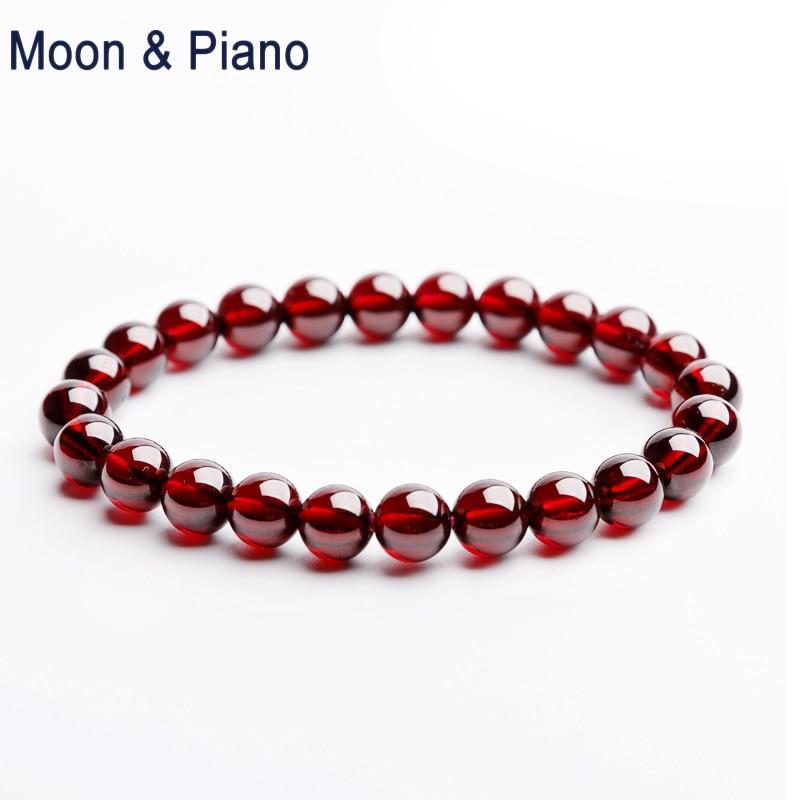 Moon & Piano Wine Red Garnet Bracelet  Charm Natural Stone Beads Lovers Gift Anniversary Nice Fine Jewelry
