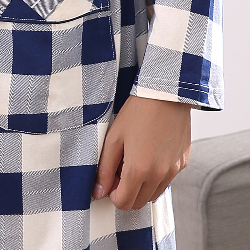Free Shipping Men Bathrobe Long Sleeve Nightgown 100%Cotton Bathrobe Big Size L-XXXXL Mens Nightwear