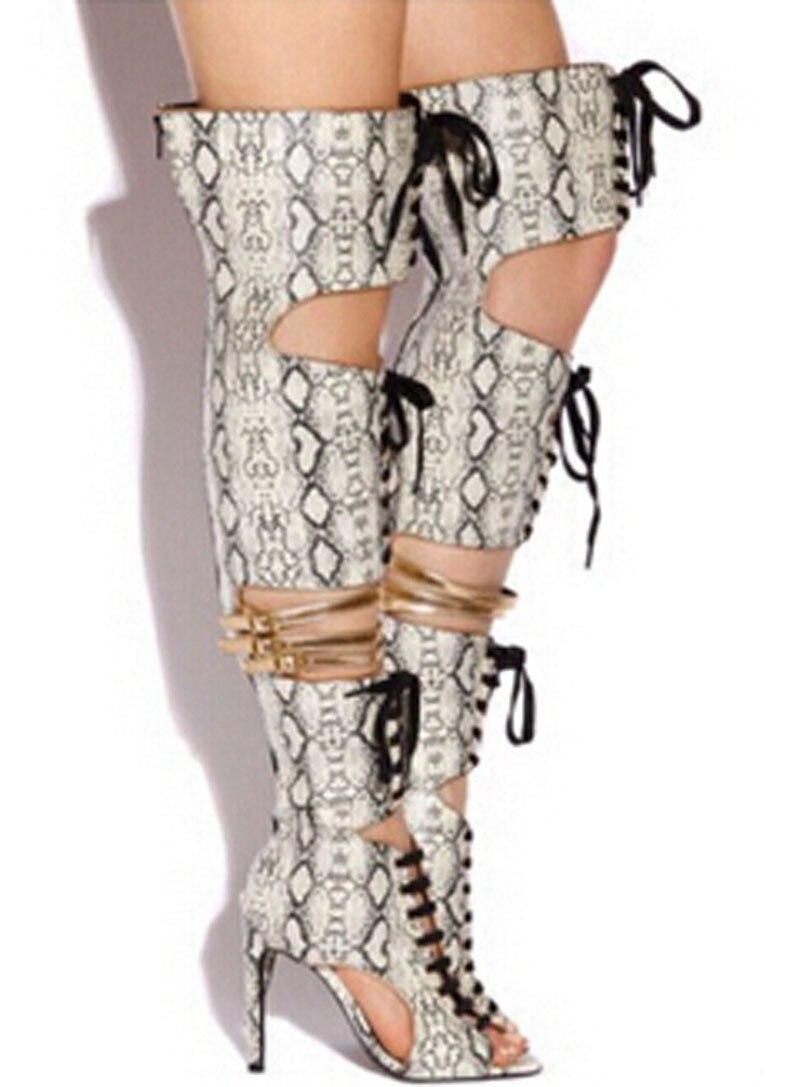 Élégante blanc Nouveau Toe Noir Découpes À AuDessus Femme Talons Bottes Stiletto Mode Dentelle Du Sandales Peep Genou OPkZiwTXu