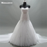 2017 Mermaid Sweetheart Strapless Long Tulle Train Wedding Dress With Beaded Sashes Classic Bridal Gown