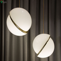 New Arrivals Lee Broom Mini Screscent Led Pendant Lights Noridc Creative Round Moon Brass Suspension Light For Restaurant