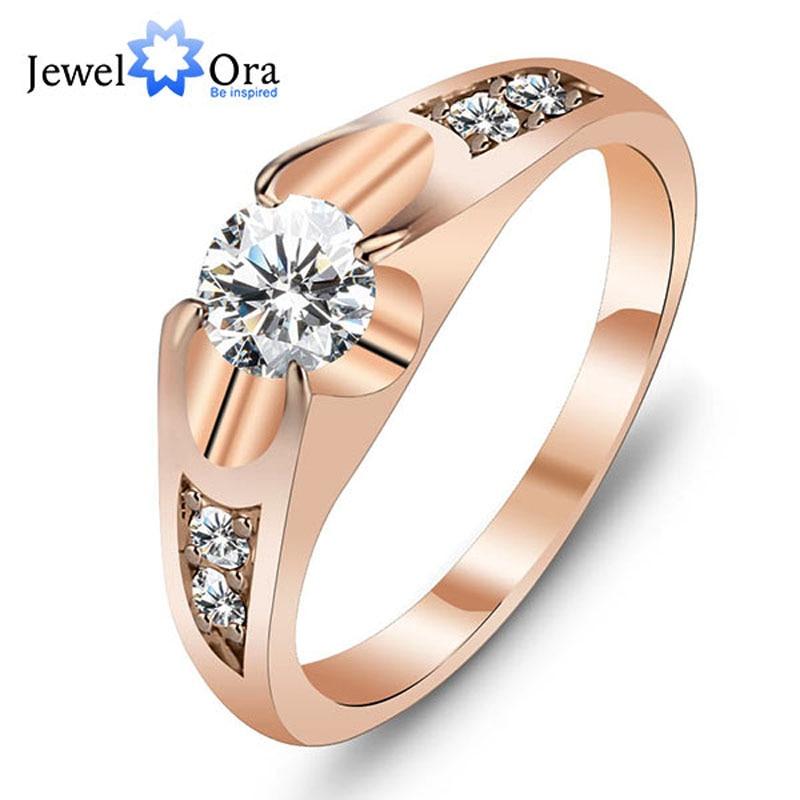 शादी की अंगूठी गुलाब सोने के रंग पोलिश के छल्ले महिलाओं के लिए फैशन ब्रांड के गहने प्राचीन के छल्ले सामान सबसे अच्छा उपहार (JewelOra Ri100907)
