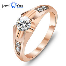 Wedding Ring Rose Gold Color Polish Rings For Women Fashion Brand Jewelry Antique Rings Accessories Best Gift(JewelOra Ri100907)