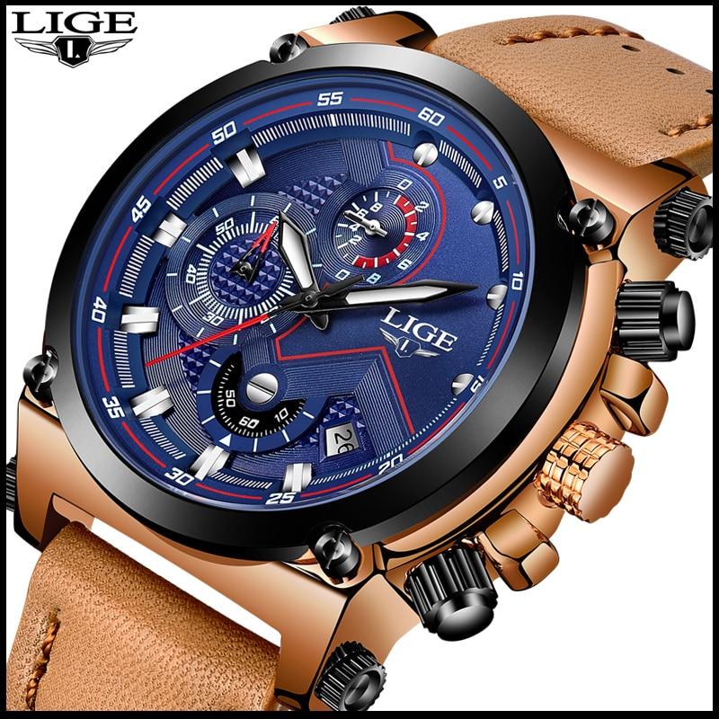 LIGE moda Mens relojes Top marca de lujo reloj ocasional del cuarzo del deporte los hombres de cuero impermeable reloj de pulsera militar Relogio Masculio