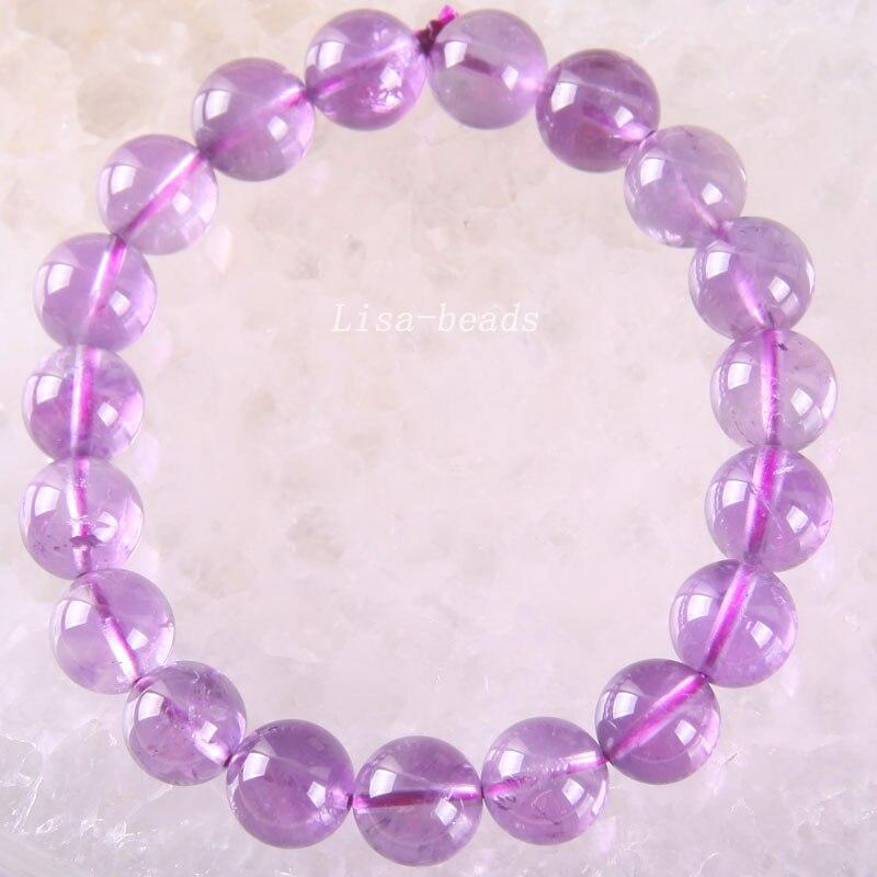 Livraison gratuite Fine bijoux extensible violet 10MM perles rondes 100% naturel AA violet cristal Bracelet 8