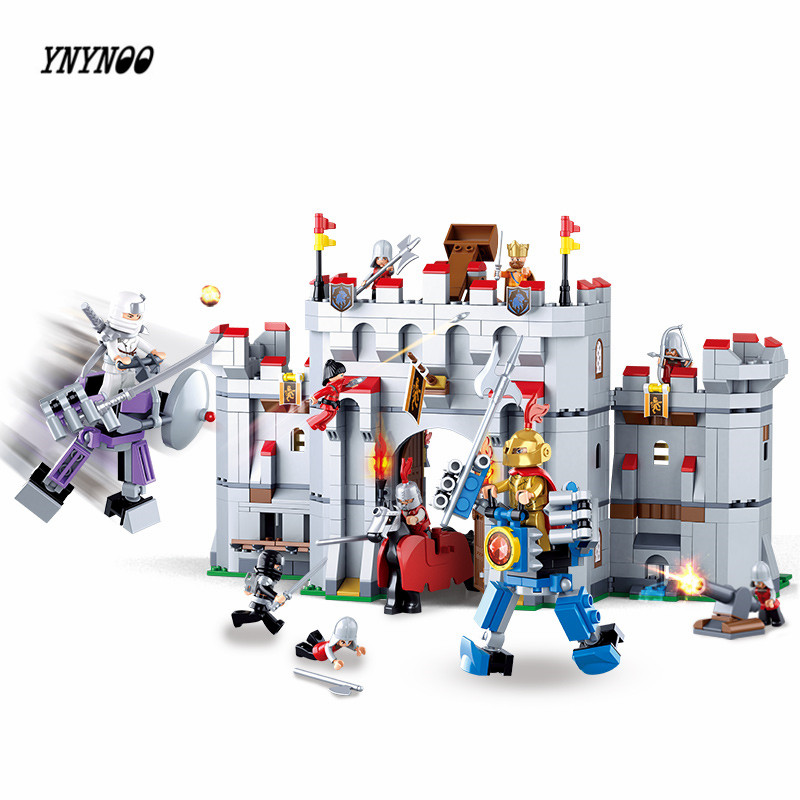 YNYNOO SLUBAN 0620 Ninja Knight armor Medieval castle series Model 887pcs Bricks Set Building Blocks Toys for Children 0367 sluban 678pcs city series international airport model building blocks enlighten figure toys for children compatible legoe