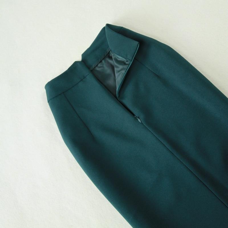 Tailleur Vert Crayon Automne Donna À Blazer Costume Jupe Long Double Femmes Boutonnage Foncé Nouveau De Grande Taille Mince Et 2018 TzTwaqY6