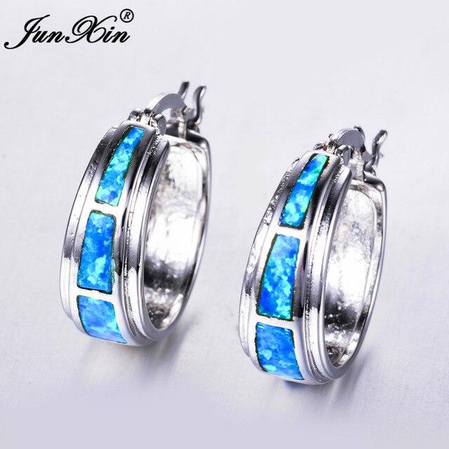 JUNXIN Blue   White Fire Opal Earring 925 Sterling Silver Filled Hoop  Earrings For Women Top e359c07a7e13