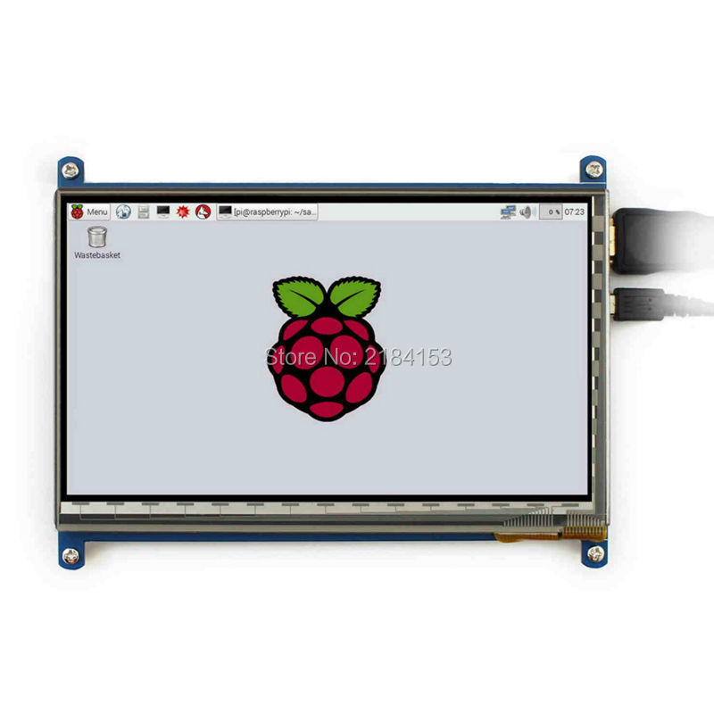 7 Inch 1024x600 TFT LCD HDMI Capacitive Touch Display With Acrylic Stander Bracket For Raspberry Pi 3B/2B/B Plus 7 inch raspberry pi 3 touch screen 1024 600 lcd display hdmi interface tft monitor module compatible raspberry pi 2 model b