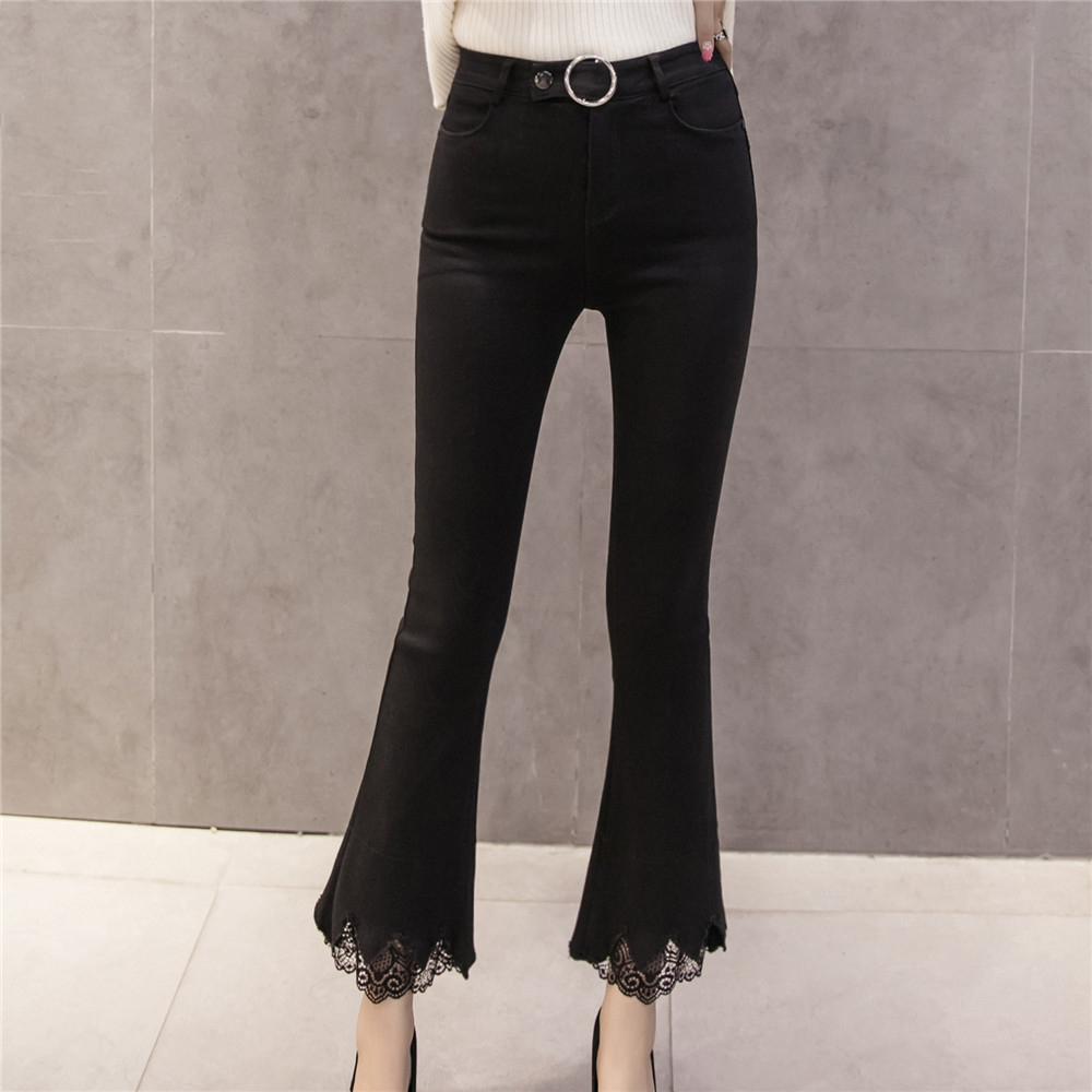 Metal N518d Pants Black Female Trouser High Spliced Lace Ring Skinny Flare Pantalon 8301 Leggings Waist Slim Women Casual Femme For qwFUCz