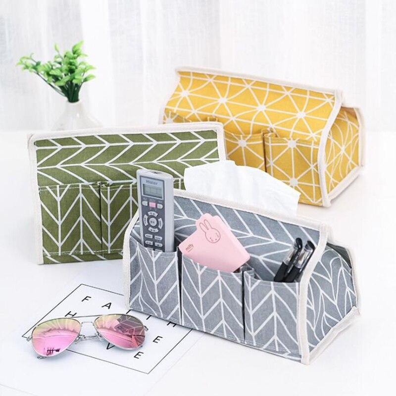 6 Pockets Cotton Tissue Box Multifunctional Desktop Pumping Napkin Paper Holder Waterproof Paper Towle Case Storage Bag