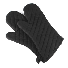 1 Para Topflappen Polyester Baumwolle Ofen Handschuhe Schwarz Twill Verdicken Küche Handschuhe Hitzebeständig BBQ Handschuhe Gants de Cuisson