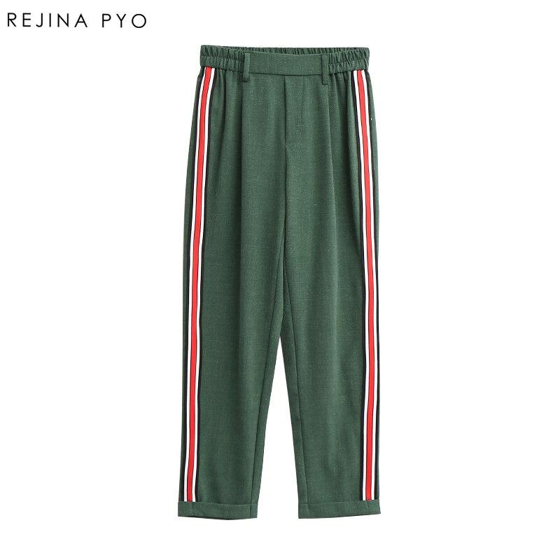 REJINAPYO Women Elegant Side Stripe Pants Elastic Waist Ladies Autumn Casual Streetwear Fashion Ankle-length Trousers Mujer