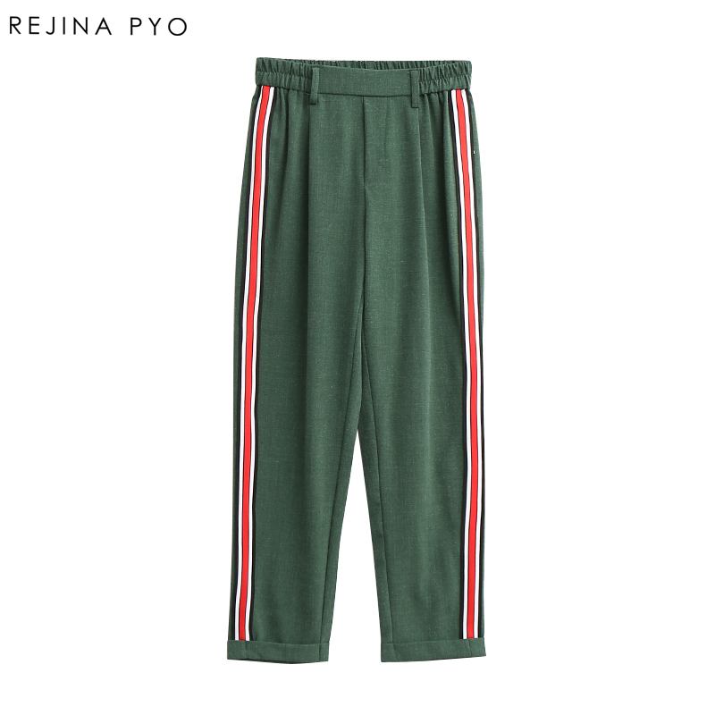 RejinaPyo Women Elegant Side Stripe Pants Elastic Waist Ladies Autumn Casual Streetwear Fashion Ankle-length Trousers Mujer