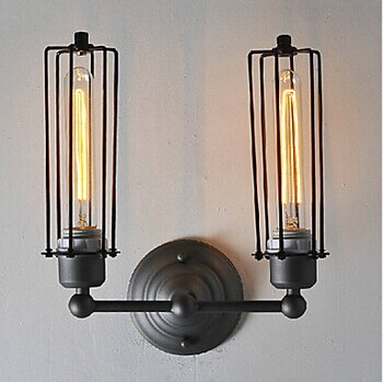 American Loft Style Edison Retro Industrial Wall Light With 2 Lights,Wall Sconce Lamp For Bedroom living room,E27 Bulb Included fumat loft hemp rope wall light american retro aisle corridor light creative bedroom beside light edison vintage industrial lamp