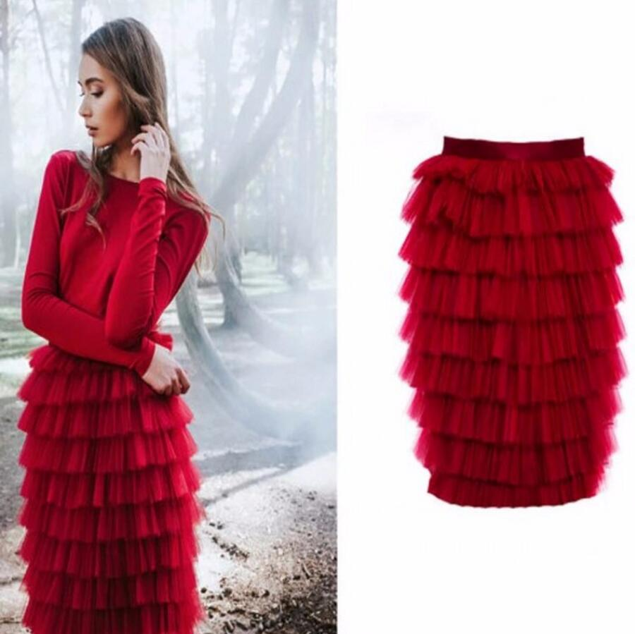 High End Tiered Ruffles Tutu Skirt For Women Fashion Tulle Skirt Zipper Style Knee Length Custom Made Pencil Skirt