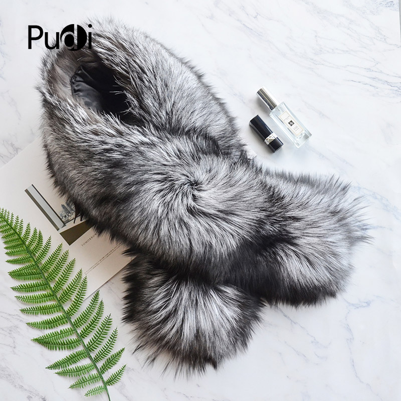 SF818 Pudi real fox fur   scarf     wraps   2018 new arriving natural fox fur   scarves   shawls black natural grey white silver fox red